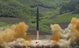Uji coba peluncuran rudal balistik Korea Utara.