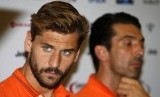 uventus' Llorente and goalkeeper Buffon attend a news conference ahead of their friendly soccer match against Singapore Selection at the Sports Hub in Singapore