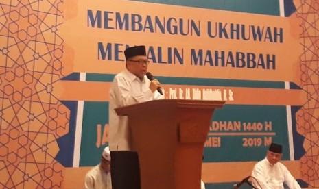 Cendekiawan Muslim, Prof KH Didin Hafidhuddin saat memberikan tausiyah di acara Buka Puasa Bersama Yayasan Pondok Karya Pembangunan (PKP) DKI Jakarta di Kampus PKP Jakarta Islamic School, Jakarta Timur, Senin (27/5).