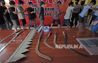 In Picture: Anggota Geng Motor di Serang Diamankan Polisi