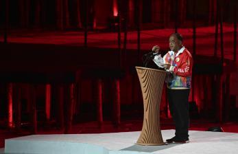 Ketua Umum KONI Pusat Marciano Norman memberikan sambutan dan laporan pada Upacara Pembukaan PON Papua di Stadion Lukas Enembe, Kompleks Olahraga Kampung Harapan, Distrik Sentani Timur, Kabupaten Jayapura, Papua, Sabtu (2/10/2021).