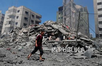 In Picture: Potret Bangunan Bertingkat di Gaza yang Hancur Dibom Israel