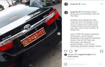 Viral Video Pamer Plat Dinas TNI, Kapuspen Beri Penjelasan