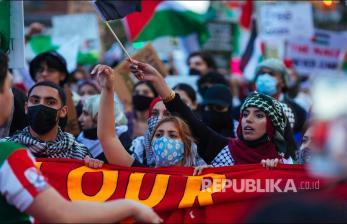 In Picture: Dukungan Pro Palestina di Kota New York