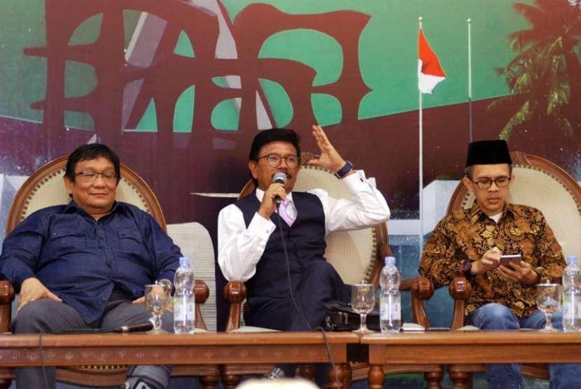 'Diskusi Empat Pilar MPR' yang digelar di Press Room, Gedung Nusantara III, Komplek Gedung MPR/DPR/DPD, Jakarta, (8/10) dengan tema 'Kuasai Mayoritas Saham Freeport, Pengelolaan Pertambangan Indonesia Berdaulat?