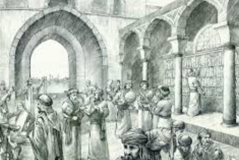 (ilustrasi) aktivitas di perpustakaan pada masa keemasan Islam