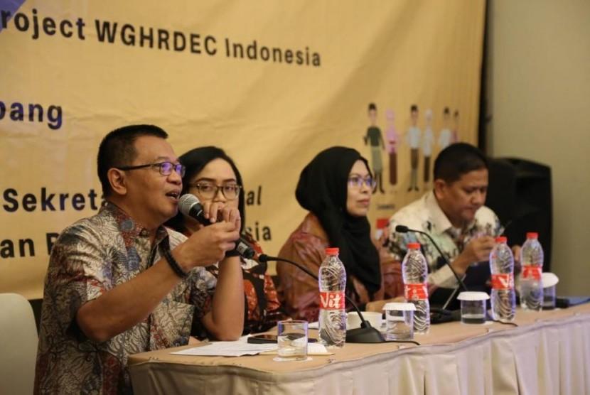 'Workshop Peningkatan Peran Indonesia peran Kerja sama Indonesia-Malaysia-Thailand-Growth Triangle (IMT-GT) : Evaluasi dan Tindak Lanjut Project Working Group on Human Resources Develompment, Eduacation, and Culture (WG HRD-EC) Indonesia, di Palembang, Sumatra Selatan, Kamis (11/7).