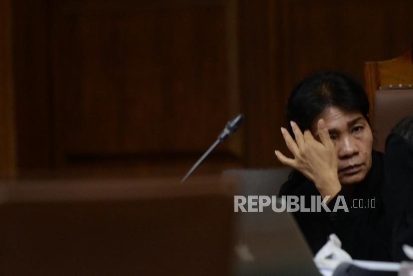 Merry Purba: Tetap Bersidang Dalam Duka Cita. Terdakwa Hakim Ad-Hoc non-aktif, Merry Purba mengikuti sidang lanjutan di Pengadilan Tipikor, Jakarta, Kamis (21/2/2019).