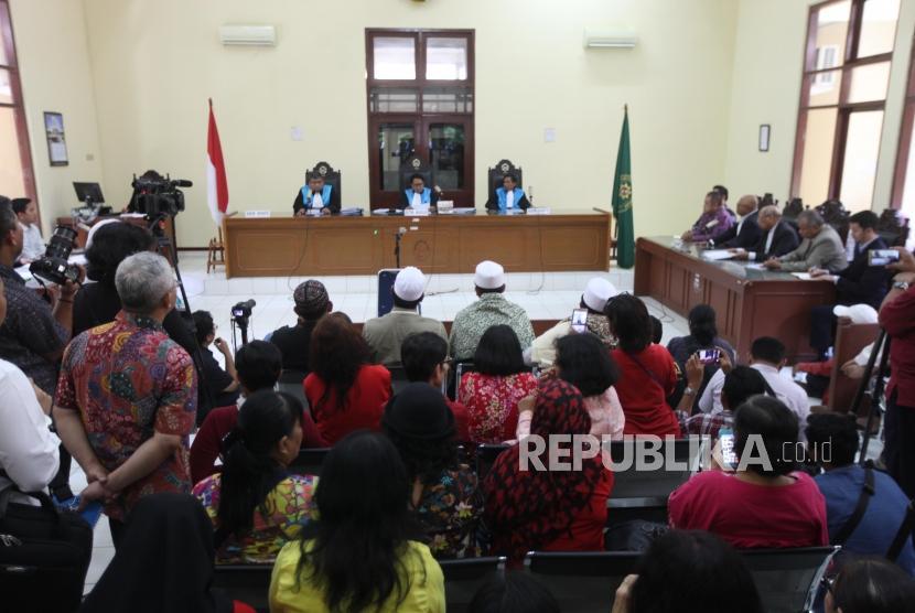 Suasana persidangan gugatan pembubaran ormas Hizbut Tahrir Indonesia (HTI) di Pengadilan Tata Usaha Negara, Jakarta