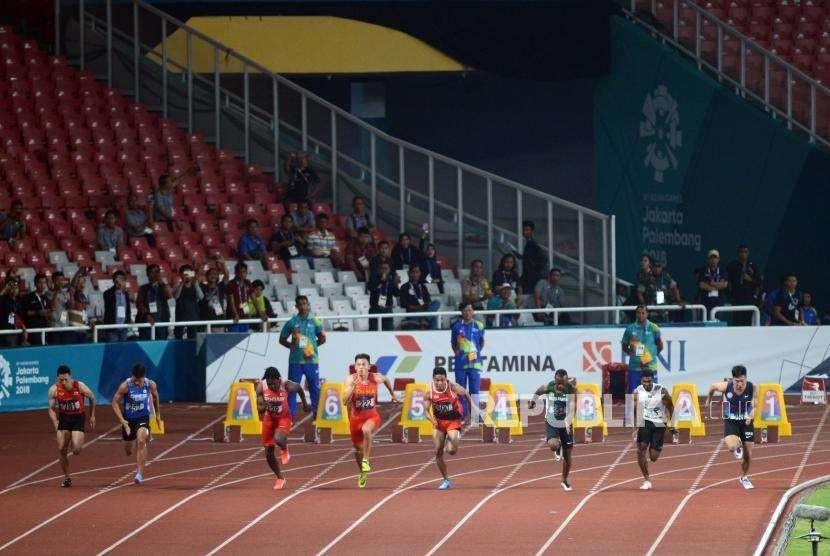 Lari 100 meter pada Asian Games 2018. (ilustrasi)