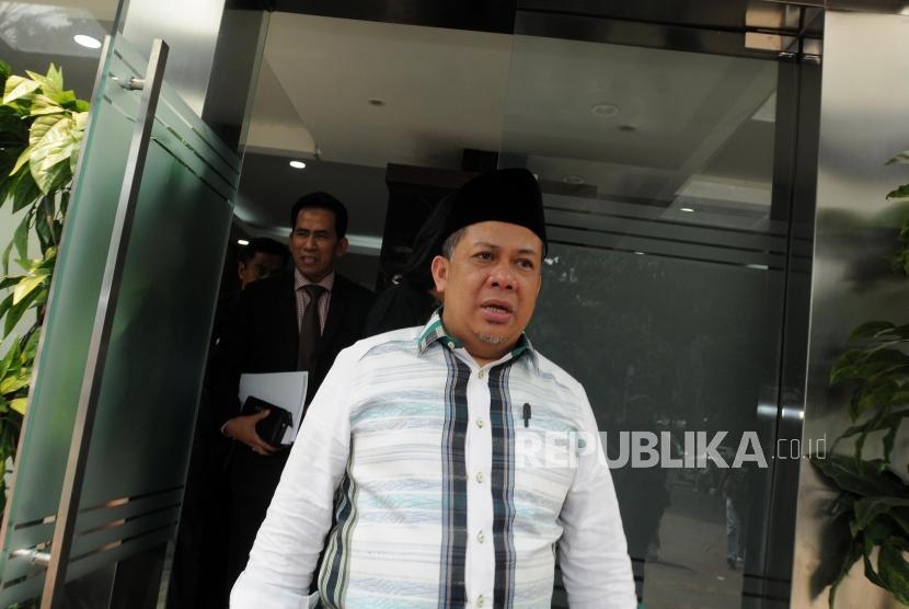 Wakil Ketua DPR RI Fahri Hamzah usai memberikan laporan tambahan terkait dugaan pencemaran nama baik di Polda Metro Jaya, Jakarta, Rabu (2/5).