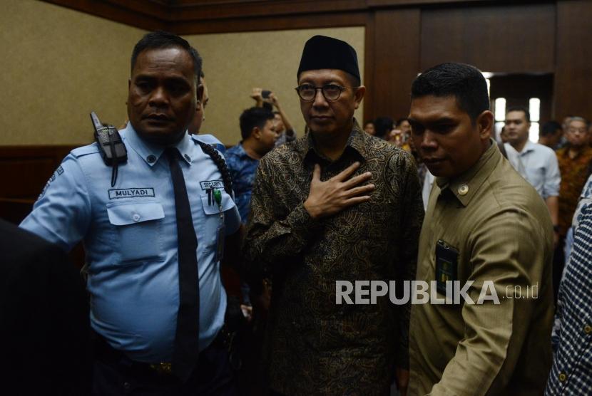 Menteri Agama Lukman Hakim Saifuddin tiba untuk menjadi saksi di Pengadilan Tipikor, Jakarta, Rabu (26/9).