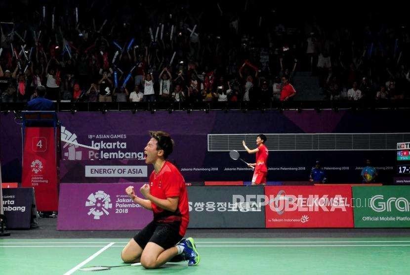 Pebulu Tangkis Indonesia Liliyana Natsir pada suatu laga Asian Games 2018, di Jakarta.