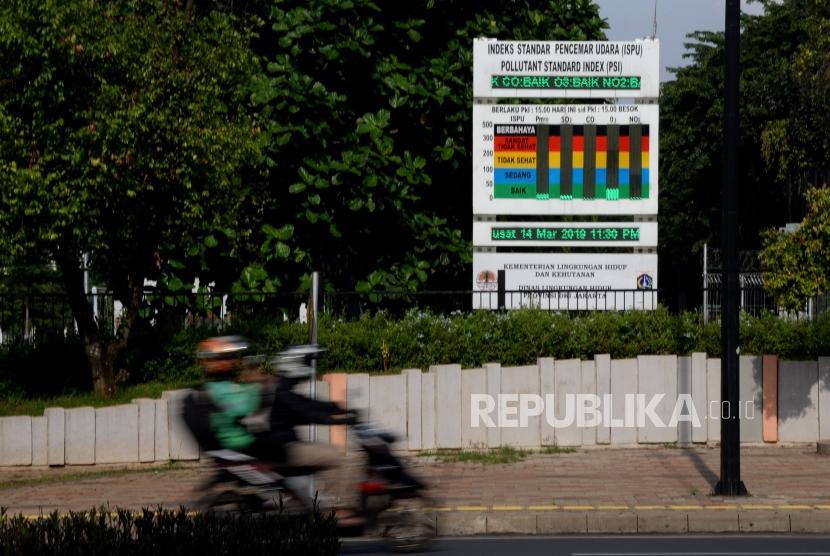 Kualitas Udara Jakarta. Warga melintas di dekat papan Indeks Standar Pencemaran Udara (IPSU) di Kawasan Gelora Bung Karno, Jakata, Kamis (14/3).