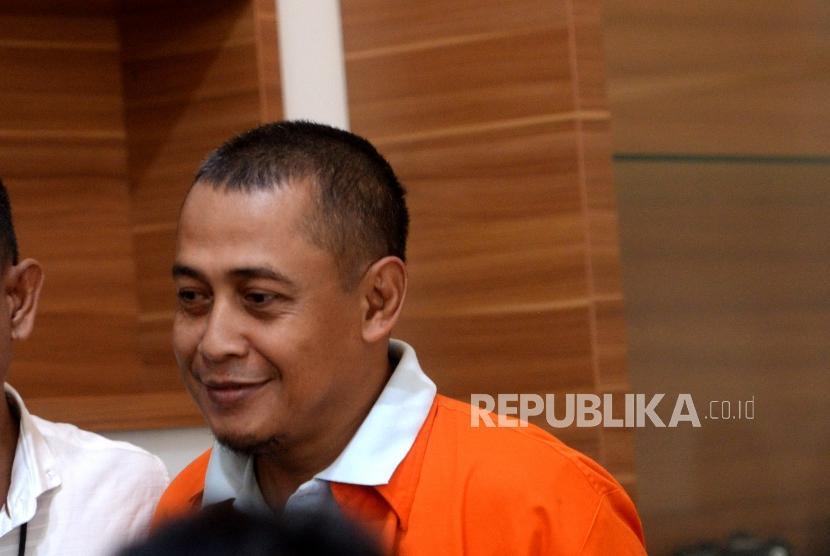 Penangkapan TSK Hoax Surat Suara. Tersangka pembuat hoax 7 kontainer surat suara, Bagus Bawana Putra dihadirkan saat konferensi pers kasus hoax surat suara tercoblos di Mabes Polri, Jakarta, Rabu (9/1/2019).