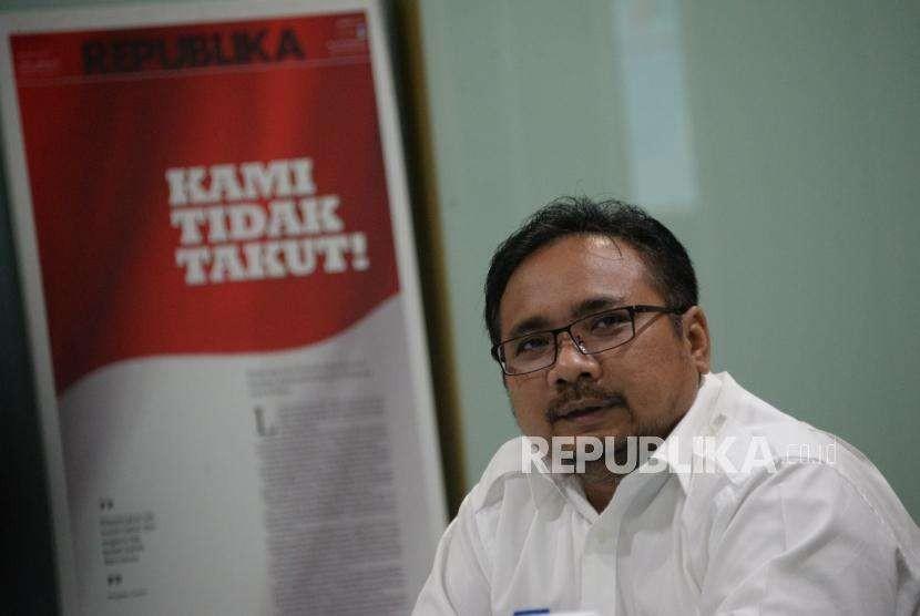 Ketua Umum Gerakan Pemuda (GP) Ansor Yaqut Cholil Qoumas ketika mengunjungi Kantor Republika, Jakarta, Jumat (7/9).