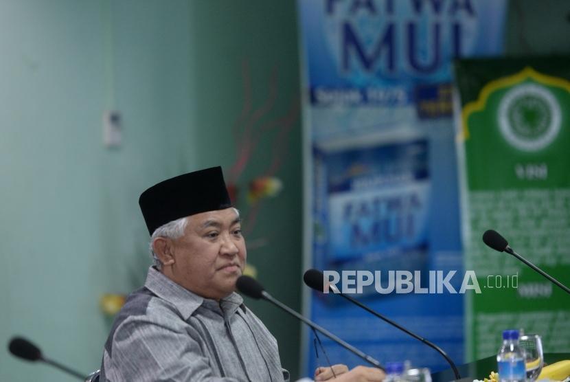Din Syamsudin Kecam Insiden Bom di Sri Lanka. (Ilustrasi) Ketua Dewan Pertimbangan MUI Din Syamsuddin di Jakarta, Rabu (30/1/2019).