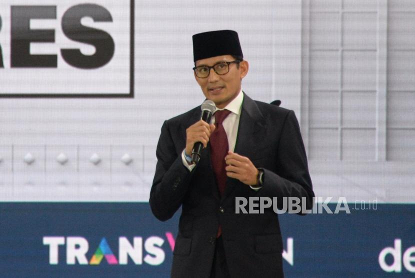 Debat Cawapres. Cawapres No 02 Sandiaga Uno saat mengikuti debat Cawapres Pilpres 2019 di Jakarta, Ahad (17/3).
