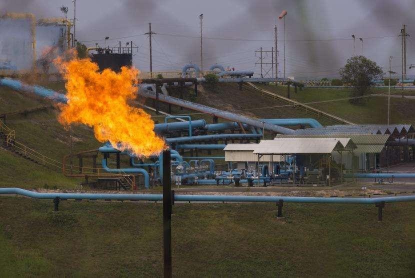Fasilitas minyak PT Chevron Pacific Indonesia di daerah Minas yang masuk dalam Blok Rokan di Riau, Rabu (1/8).
