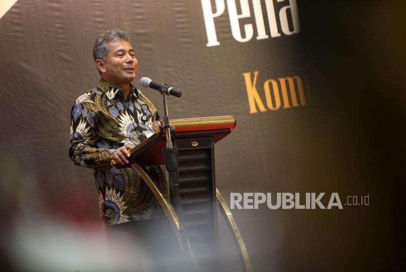 Direktur Utama PT Pegadaian (Persero) Sunarso memberikan sambutan saat penandatangan nota kesepahaman antara PT Pegadaian dengan Komisi Pemberantasan Korupsi (KPK) di Kantor Pusat Pegadaian, Jakarta, Senin (6/8).