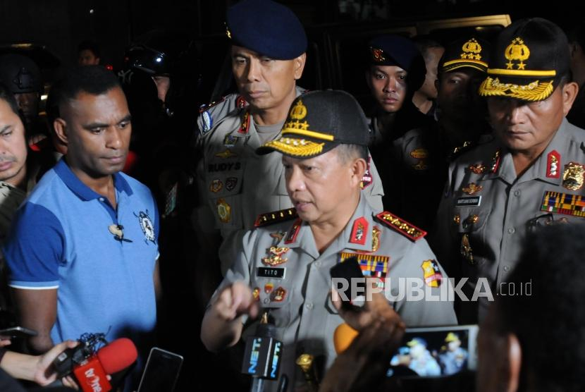 National Police Chief M Tito Karnavian holds a press conference after overseeing Mako Brimob, Kelapa Dua, Depok, West Java, on Thursday (May 10).