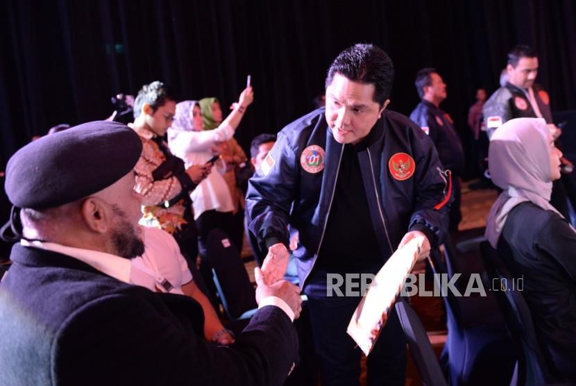 Ketua TKN Pasangan Capres dan Cawapres nomor urut 01 Joko Widodo-KH Ma'ruf Amin Erick Tohir hadir pada debat pertama pasangan calon presiden dan wakil presiden pemilu 2019 di Jakarta, Kamis (17/1).