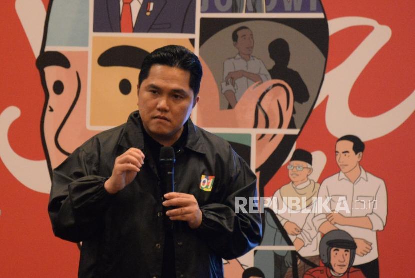 Ketua Tim Kampanye Nasional Jokowi-Ma'ruf Amin Erick Thohir meyampaikan pandangannya dalam talkshow kado nusantara dalam pameran Karya Adalah Doa,Senyawa Karya, Sewujud Doa di Jakarta, Jumat (29/3).