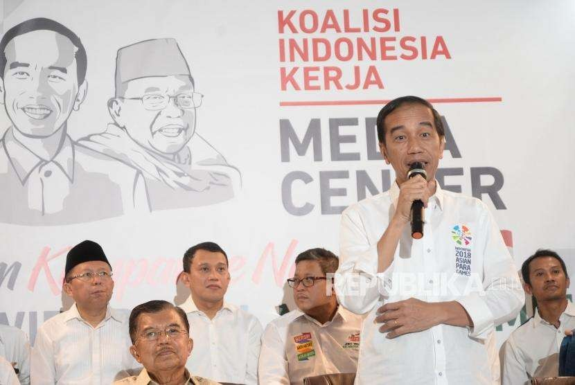Pengumuman Tim Kampanye Nasional. Presiden Joko Widodo mengumumkan Tim Kampanye Nasional Joko Widodo - KH Maruf Amin Pilpres 2019 di Jakarta, Jumat (7/9).
