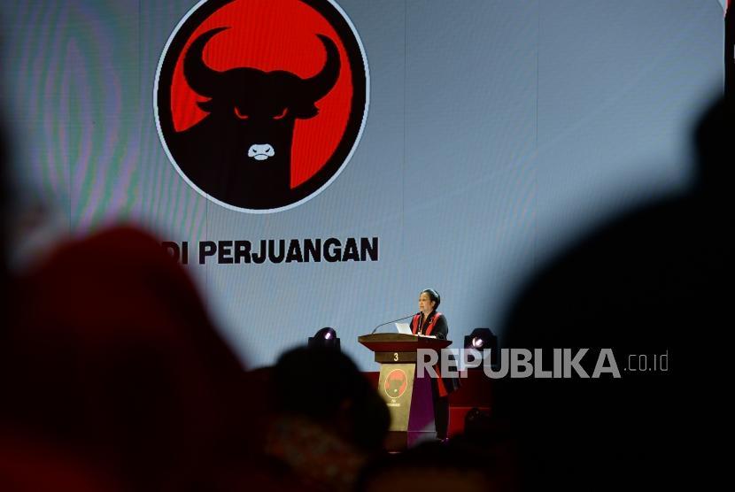 Ketua Umum PDIP Megawati Soekarnoputri memberikan sambutan saat puncak peringatan HUT PDIP ke 46 di JI-Expo, Kemayoran, Jakarta Pusat, Kamis (10/1/2019).