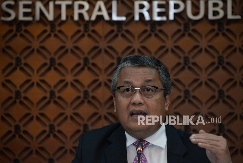 Bank Indonesia (BI): Gubernur Bank Indonesia (BI) Perry Warjiyo menyampaikan pemaparan hasil Rapat Dewan Gubernur (RDG) Bank Indonesia di Bank Indonesia, Jakarta, Kamis (21/2).