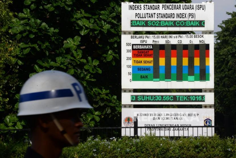 Kualitas Udara Jakarta. Petugas keamanan melintas di dekat papan Indeks Standar Pencemaran Udara (IPSU) di Kawasan Gelora Bung Karno, Jakata, Kamis (14/3).