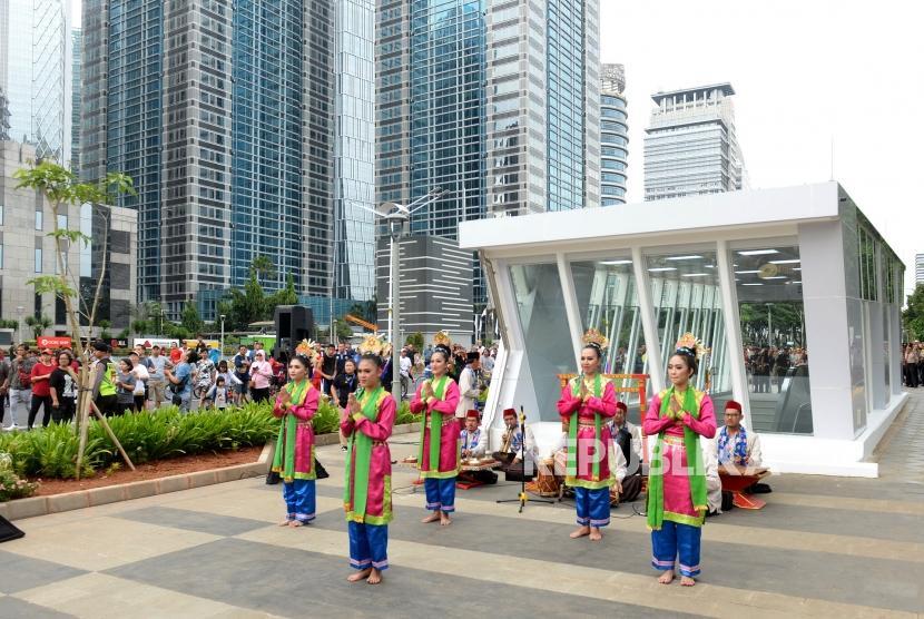 Peresmian MRT Fase 1. Stasiun MRT Istora Senayan, Jakarta, Ahad (24/3/2019).