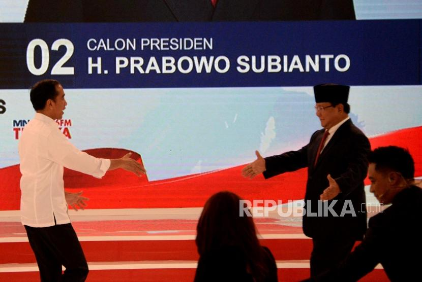Incumbent President Joko Widodo (left) and his contender Prabowo Subianto at the second round of presidential debate held at Sultan Hotel, Jakarta, on Sunday (Feb 17).
