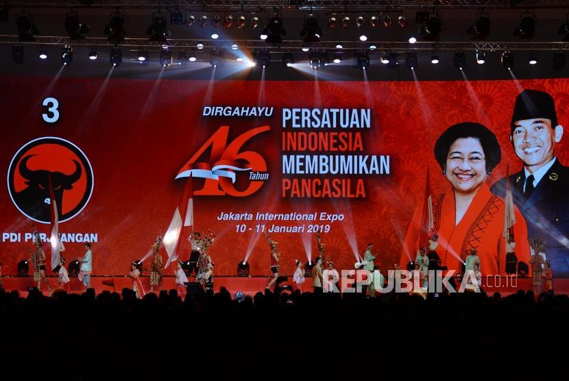 Suasana puncak peringatan HUT PDIP ke 46 di JI-Expo, Kemayoran, Jakarta Pusat, Kamis (10/1/2019).