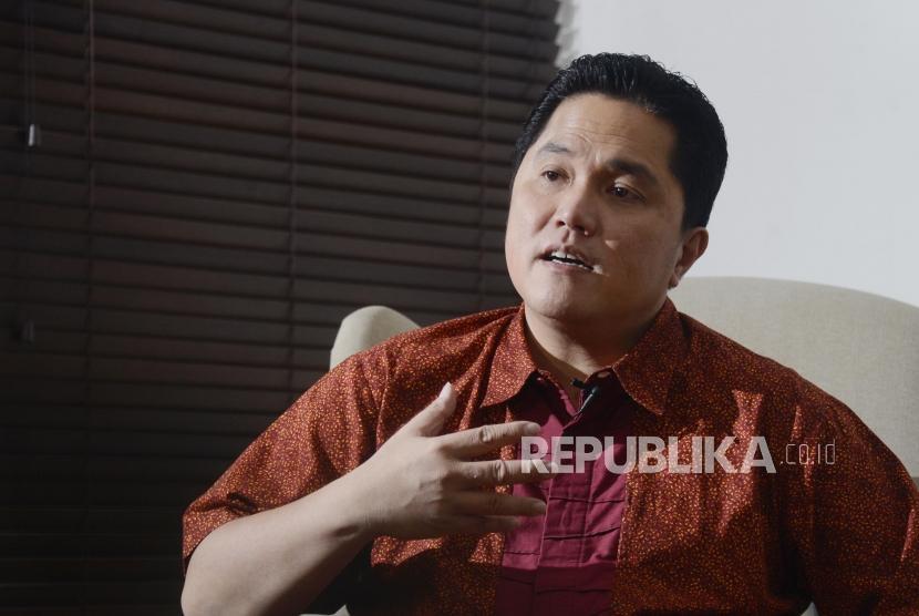 Ketua TKN Jokowi-KH Ma'ruf Amin, Erick Thohir, saat wawancara khusus bersama Republika di Jakarta, Senin (15/7).