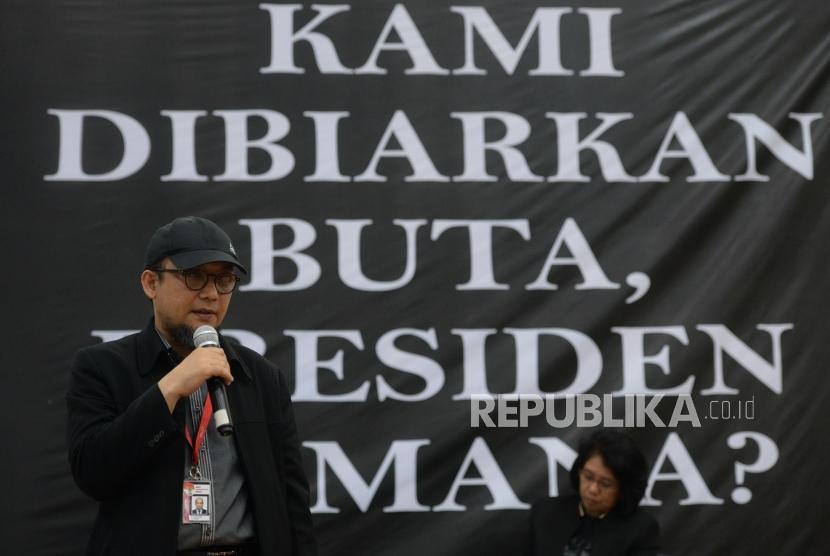 Perlindungan Pejuang Keadilan. Penyidik KPK Novel Baswedan menyampaikan paparan saat diskusi di Gedung KPK, Jakarta, Kamis (1/11).