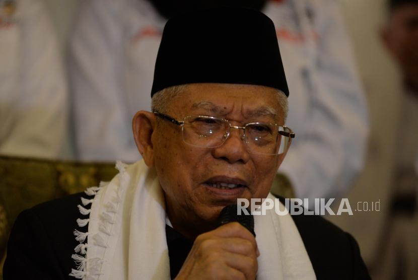 Calon Wakil Presiden no urut satu, Ma'aruf Amin memberikan keterangan dalam jumpa media di Jakarta, Kamis (6/12). Ma'aruf Amin menggelar pertemuan dengan media untuk bediskusi dan memberikan pernyataan terkait isu yang berkembang.