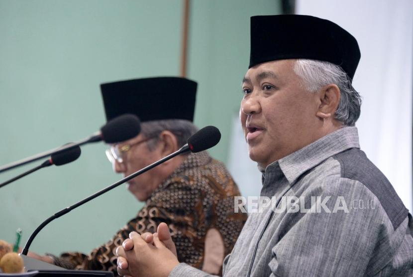 Rapat Pleno MUI: Ketua Dewan Pertimbangan MUI Din Syamsuddin memimpin Rapat Pelno ke-36 Dewan Pertimbangan MUI di Jakarta, Rabu (20/2).