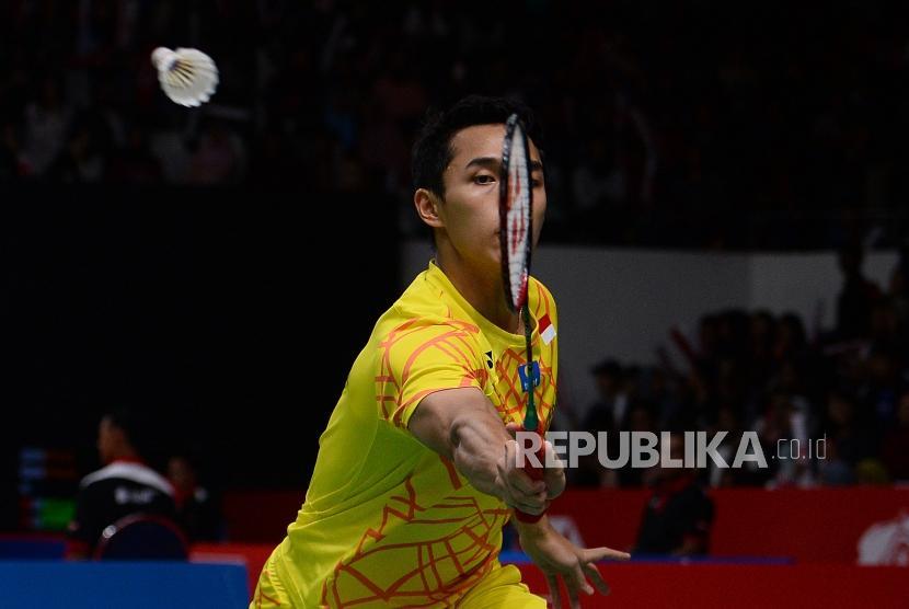 Pebulutangkis tunggal putra Indonesia Jonatan Christie.