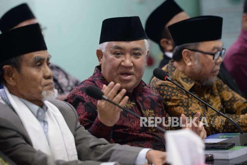 Ketua Dewan Pertimbangan MUI Din Syamsuddin memberikan keterangan terkait hasil rapat pleno Dewan Pertimbangan MUI di Gedung MUI, Jakarta, Rabu (29/8).
