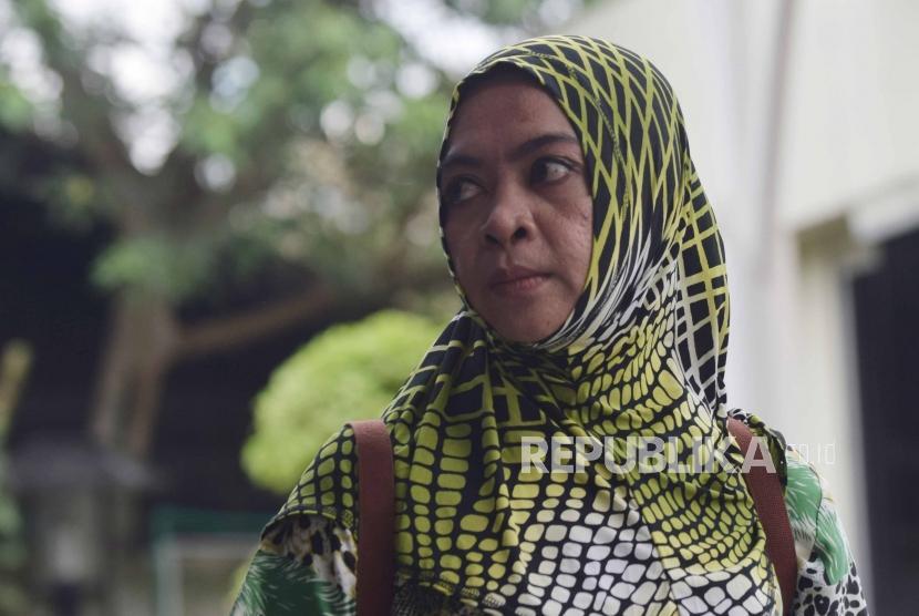 Mantan anggota DPR RI, Wa Ode Nurhayati tiba di gedung Komisi Pemberantasan Korupsi (KPK), Jakarta, Jumat (13/7).