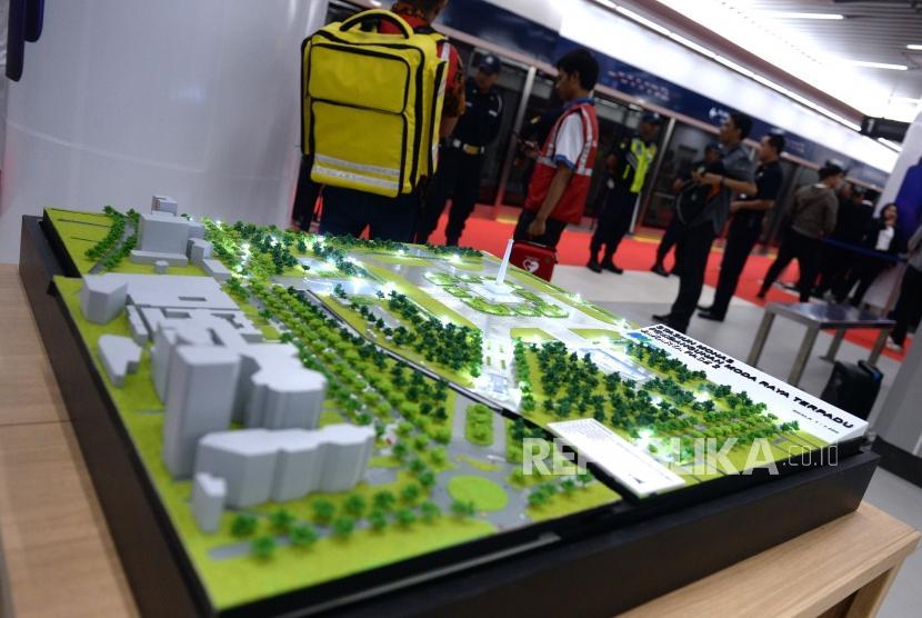 Peresmian MRT Fase 1. Maket pembangunan MRT dipajang saat peresmian di Stasiun MRT Bundaran Hotel Indonesia, Jakarta, Ahad (24/3/2019).