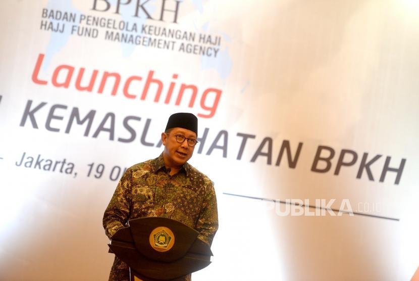 Peluncuran Program Kemaslahatan BPKH. Menag Lukman Hakim Saifuddin memberikan sambutan sekaligus meluncurkan Program Kemaslahatan BPKH di Kementerian Agama, Jakarta, Jumat (19/10).