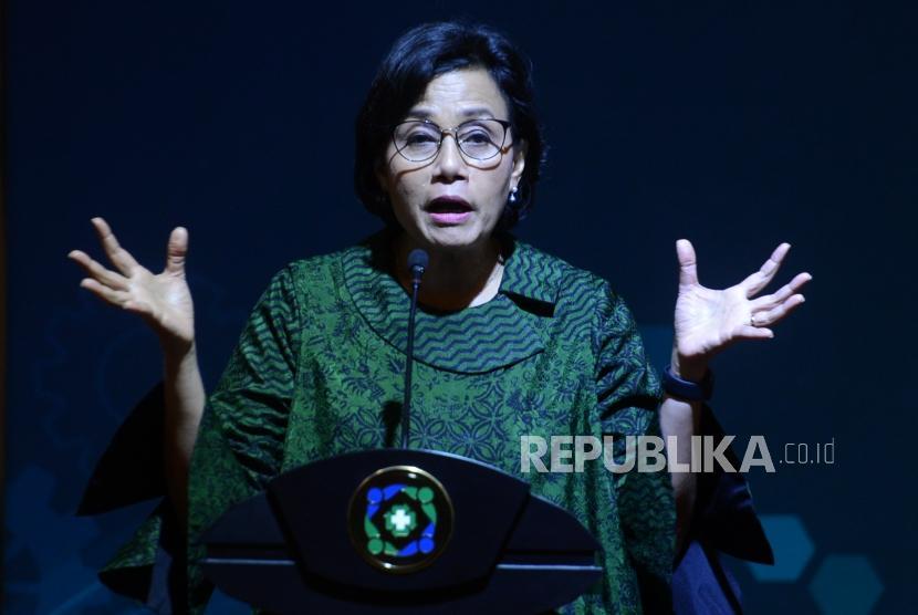 Peluncuran Data Sampel BPJS Kesehatan. Menteri Keuangan Sri Mulyani menyampaikan pidato saat peluncuran data sampel BPJS Kesehatan di Jakarta, Senin (25/2).