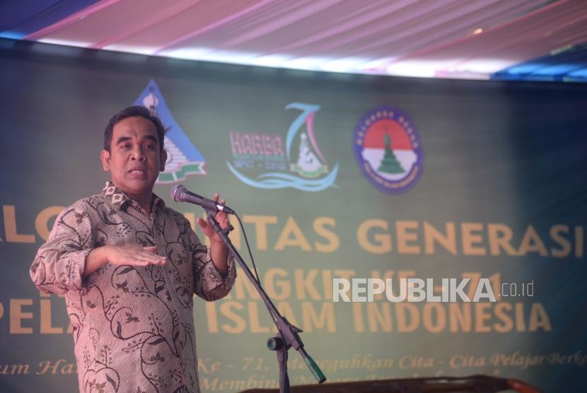 Wakil Ketua MPR Ahmad Muzani memberikan sambutan dalam acara hari bangkit PII ke-71 di Jakarta, Jumat (4/5).