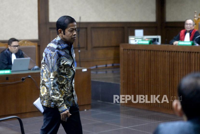 Vonis Idrus Marham. Terdakwa kasus dugaan suap proyek PLTU Riau-1 Idrus Marham menjalani sidang putusan di Pengadilan Tipikor, Jakarta Pusat, Selasa (23/4/2019).