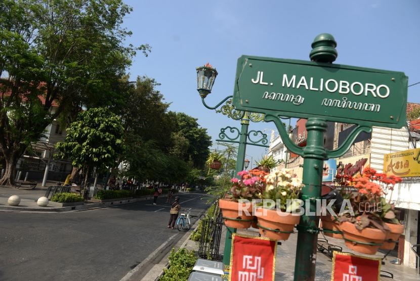 Uji Coba Malioboro Bebas Kendaraan Bermotor. Kondisi Jalan Malioboro saat uji coba bebas kendaraan bermotor, Yogyakarta, Selasa (18/6/2019).