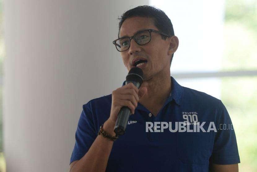 Sandiaga Uno  memberikan sambutan saat pembukaan acara GEMTA 2018 di  Felfest  UI, Jakarta, Selasa (11/9).