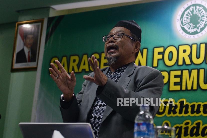 Ustaz Abu Deedat Syihabudin saat memberikan materi dalam diskusi di MUI, Jakarta, Rabu (12/12).