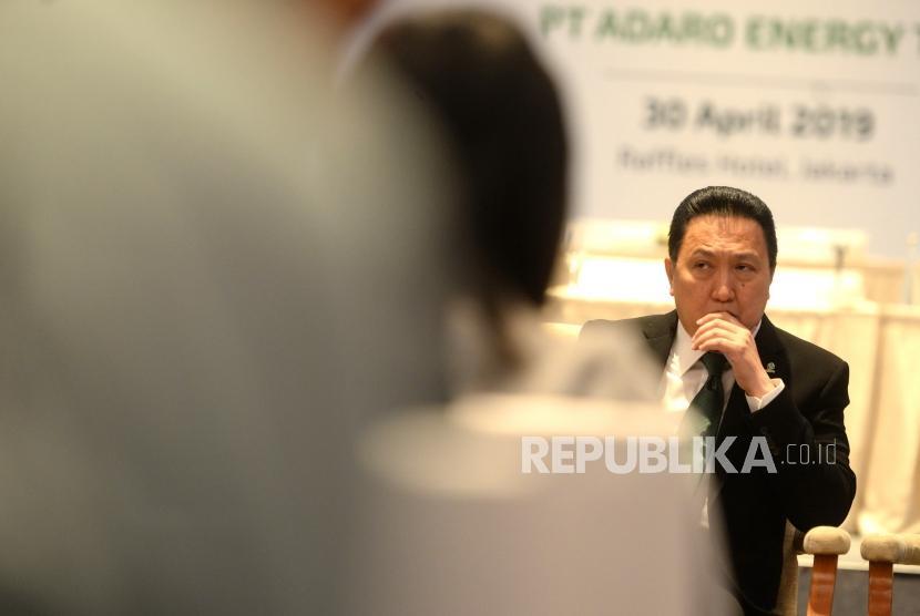 RUPST Adaro. Presiden Direktur PT Adaro Energy Tbk Garibaldi Thohir menyampaikan paparan usai Rapat Umum Pemegang Saham Tahunan (RUPST) di Jakarta, Selasa (30/4/2019).